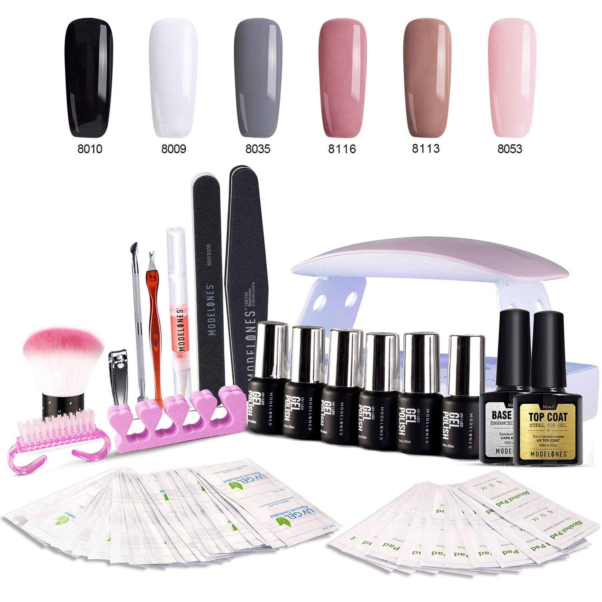 Gel Nail Starter Kit with UV Light - 6W Mini UV LED Nail Lamp, 6 PCS Color Gel Nail Polish 7ml Tiny Bottles, 10ml Base Top Coat, and Manicure Tools Set - Soak Off Portable Kit by Modelones by modelones