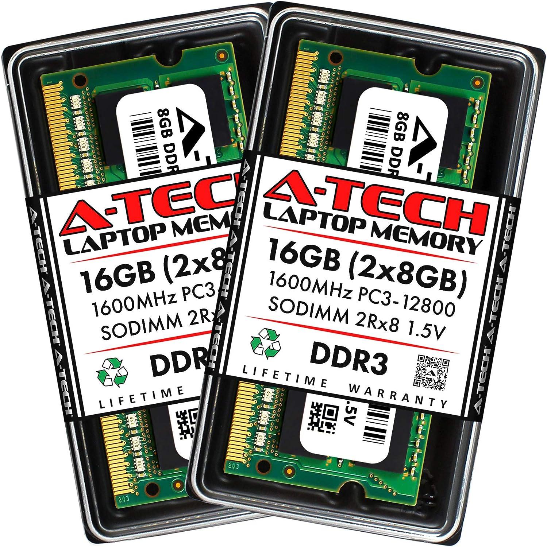 A-Tech 16GB Kit (8GBx2) DDR3 1600 MHz SODIMM PC3-12800 2Rx8 1.5V CL11 204 Pin Non-ECC Unbuffered Notebook Laptop RAM Memory Upgrade Modules