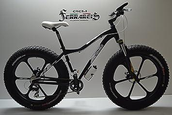 Fat Bike, bicicleta de aluminio, 18,7 kg, radios, amortiguadores, 8 velocidades, color negro y blanco: Amazon.es: Deportes y aire libre