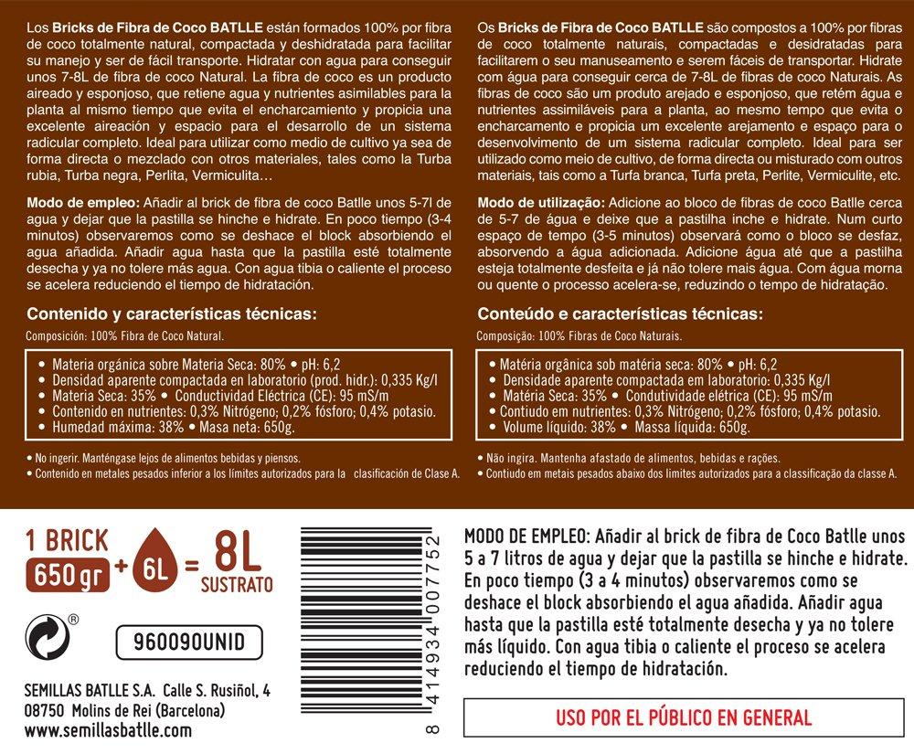 Sustratos Ecológicos - Brick de Fibra de coco 650g - Batlle: Amazon.es: Jardín