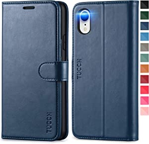 TUCCH iPhone XR Case, iPhone XR Wallet Case, PU Leather Flip Slim Cover with [RFID Blocking] Card Slot, Stand Holder [Wireless Charging] [TPU Protective Shell] Compatible with iPhone XR 6.1- Dark Blue
