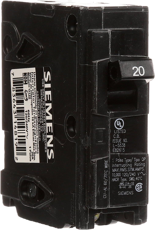 Lot of 3 Siemens ITE Q120 Circuit Breakers 20Amp 1 Pole 120VAC