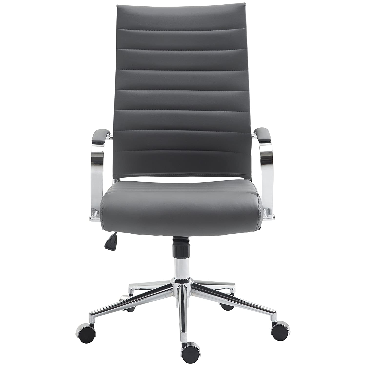 Poly and Bark Tremaine High Back Management Chair in Vegan Leather, Grey