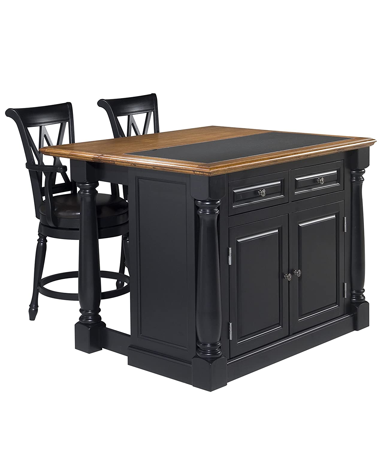 Kitchen island with granite insert - Amazon Com Home Styles 5009 948 Monarch Granite Top Kitchen Island With 2 Stool Black Finish Kitchen Islands Carts