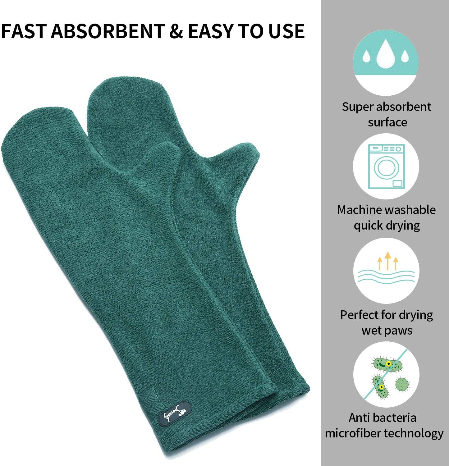 PETTOM Dog Drying Mitts Ultra Soft Microfibre Quick Dry Pet Mitt Green//Purple//Blue//Red Cat Puppy and Horse Hoof Cleaning Gloves,2 Pack