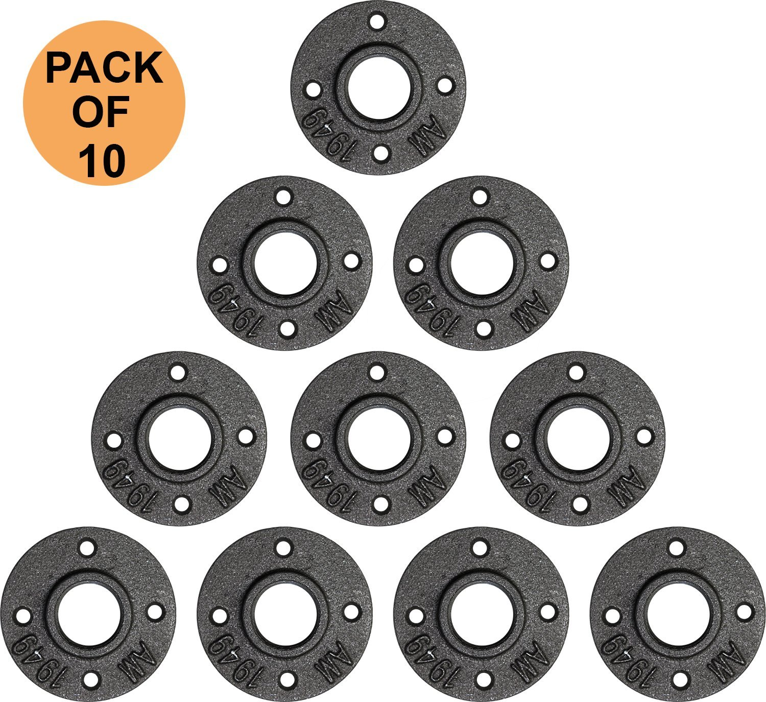 1''inch Flange Black Malleable Iron Floor Pipe Fittings for Industrial Pipe Furniture & DIY Décor [ Pack of 10]