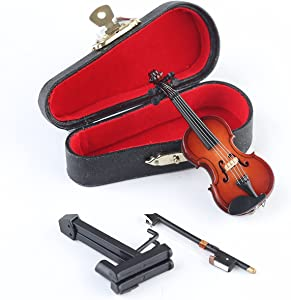 "Seawoo Wooden Miniature Violin with Stand,Bow and Case Mini Musical Instrument Miniature Dollhouse Model Home Decoration (3.15""x1.18""x0.59"")"
