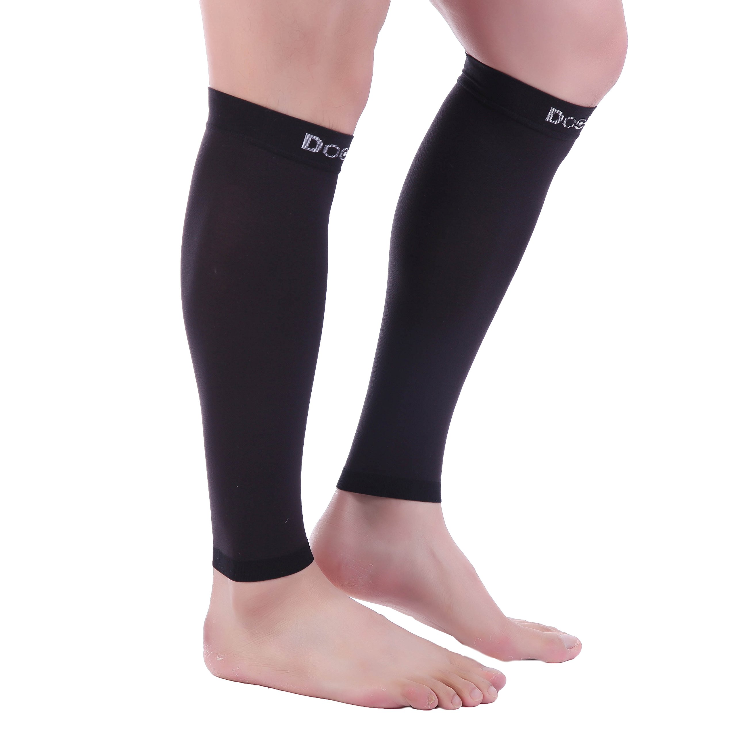 Doc Miller Premium Calf Compression Sleeve 1 Pair 20-30mmHg Strong Calf Support Graduated Pressure for Sports Running Muscle Recovery Shin Splints Varicose Veins (Black, 2-Pack, Large) by Doc Miller (Image #6)