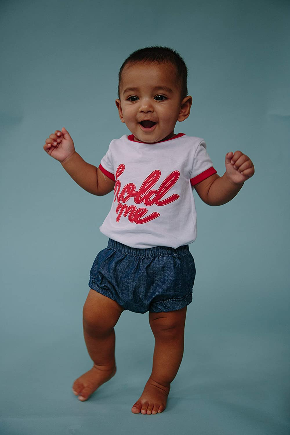 Size 3-24 Months Wild Sundays Baby Toddler Red//White Hold Me T-Shirt 100/% Cotton Stylish Ringer Tee