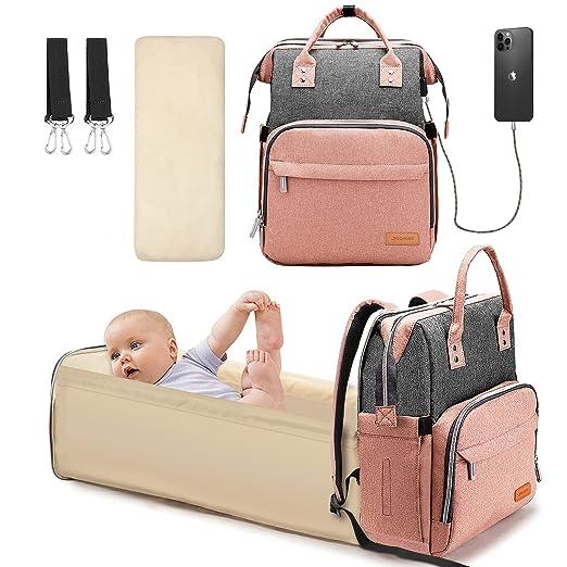 Mochila multifunci/ón para beb/é con 3 bolsillos aislantes de botella 2 ganchos de cochecito 1 colch/ón