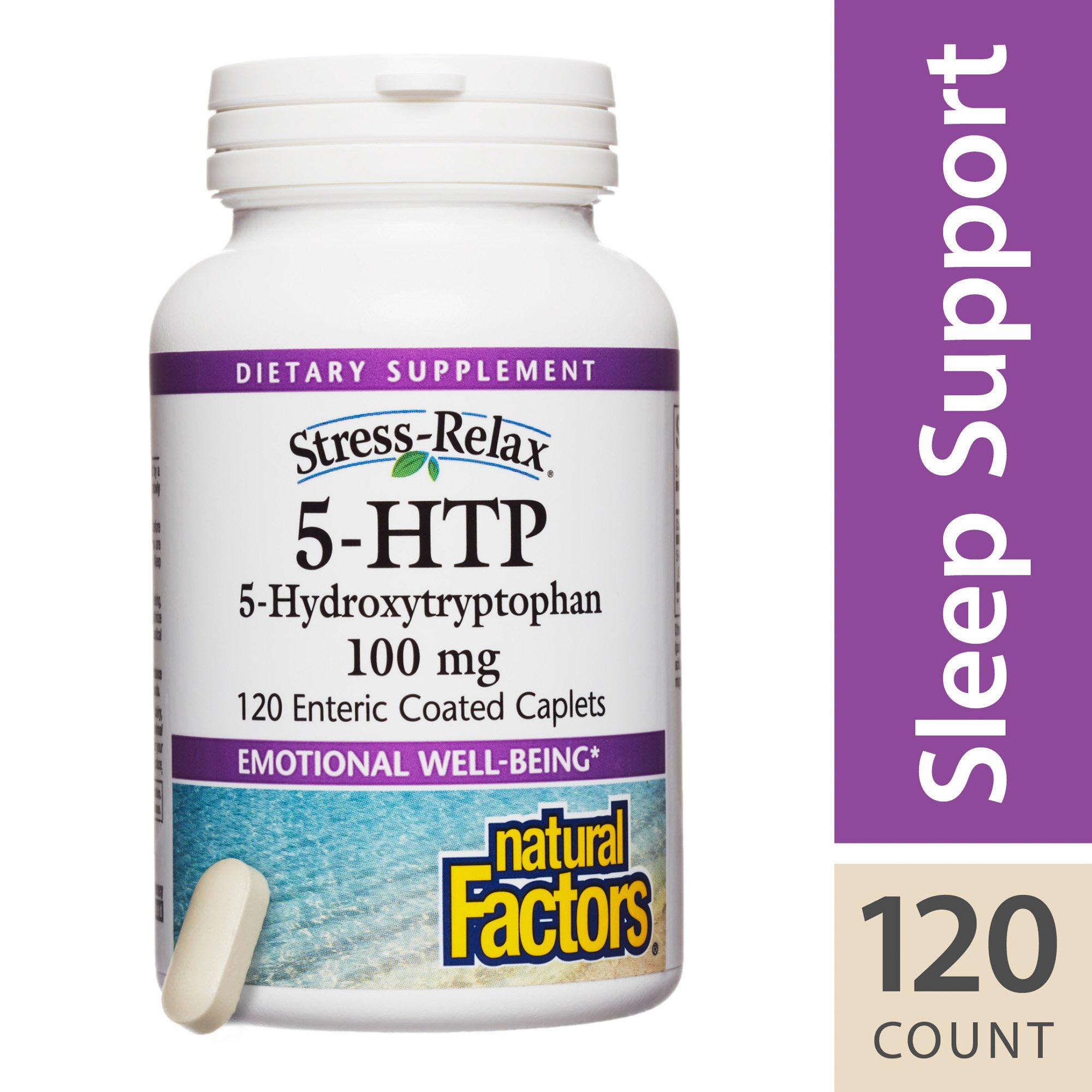 Natural Factors - Stress-Relax 5-HTP 100mg, Supports Emotional Well-Being, 120 Enteric Coated Caplets