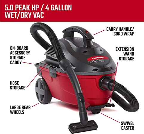 Craftsman 17612 4 Gallon 5 0 Peak Hp Wet Dry Vac Portable Shop Vacuum With Attachments Red 9 17612 Gray Shop Wet Dry Vacuums