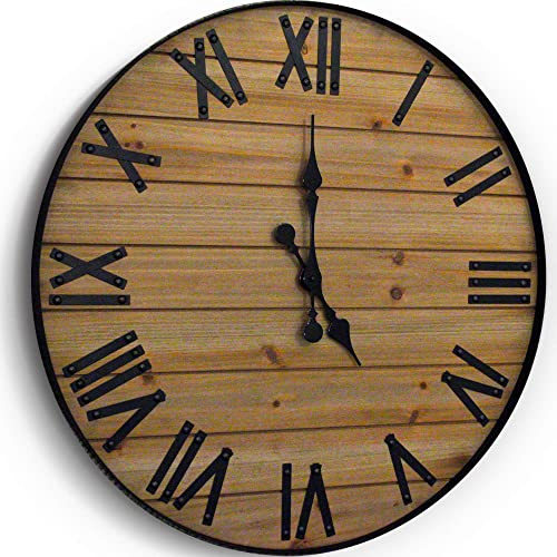 WallCharmers 24 inch Rustic Wall Clock Handmade Large Clock Real Wood Clock Beautiful Decorative Wall Clock Large Oversized Wall Clock Large Wall Clock Wooden Clock Rustic Clock Large Wall Clocks