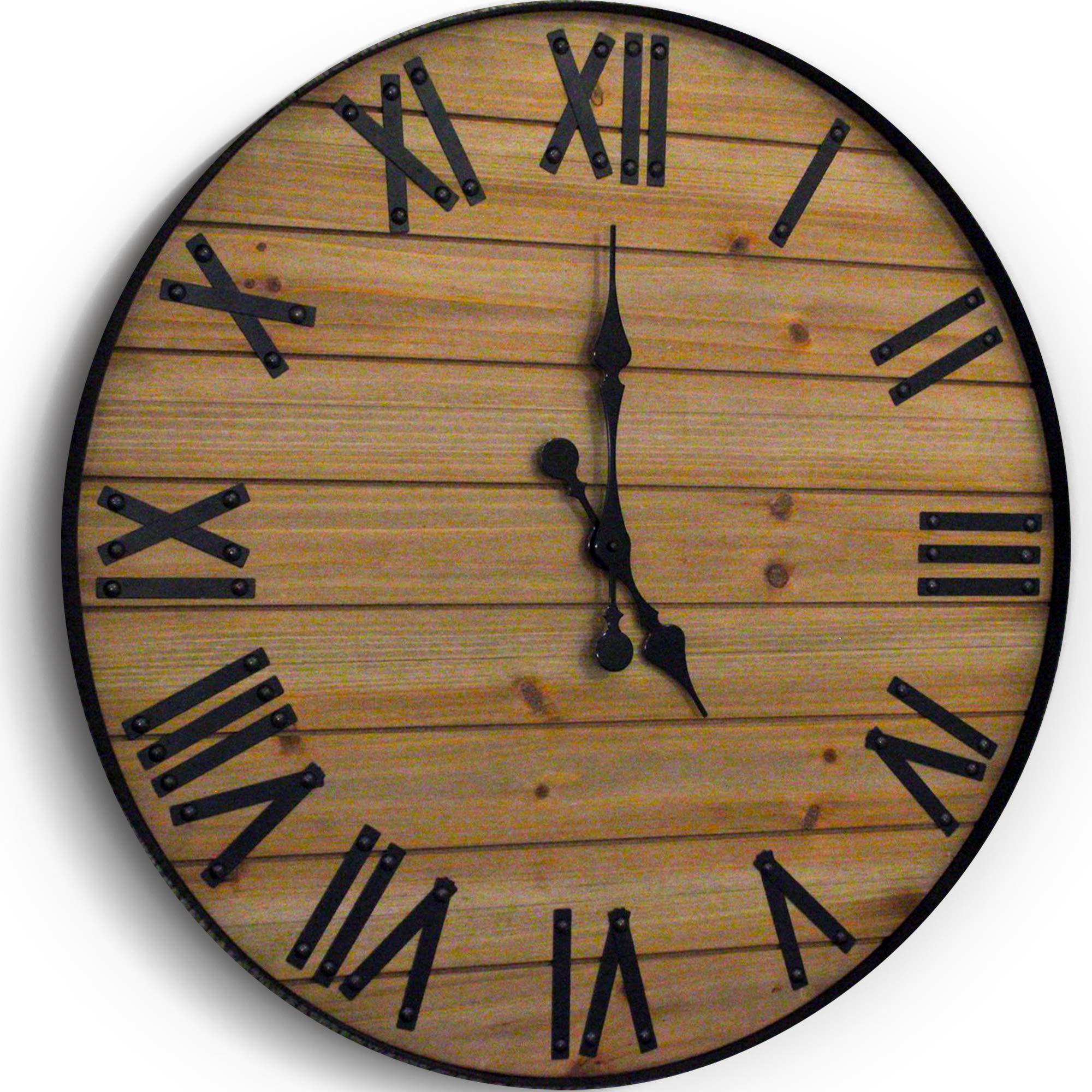 WallCharmers 24 inch Rustic Wall Clock | Handmade Large Clock | Real Wood Clock Beautiful Decorative Wall Clock Large |Oversized Wall Clock Large Wall Clock Wooden Clock Rustic Clock Large Wall Clocks by Wallcharmers