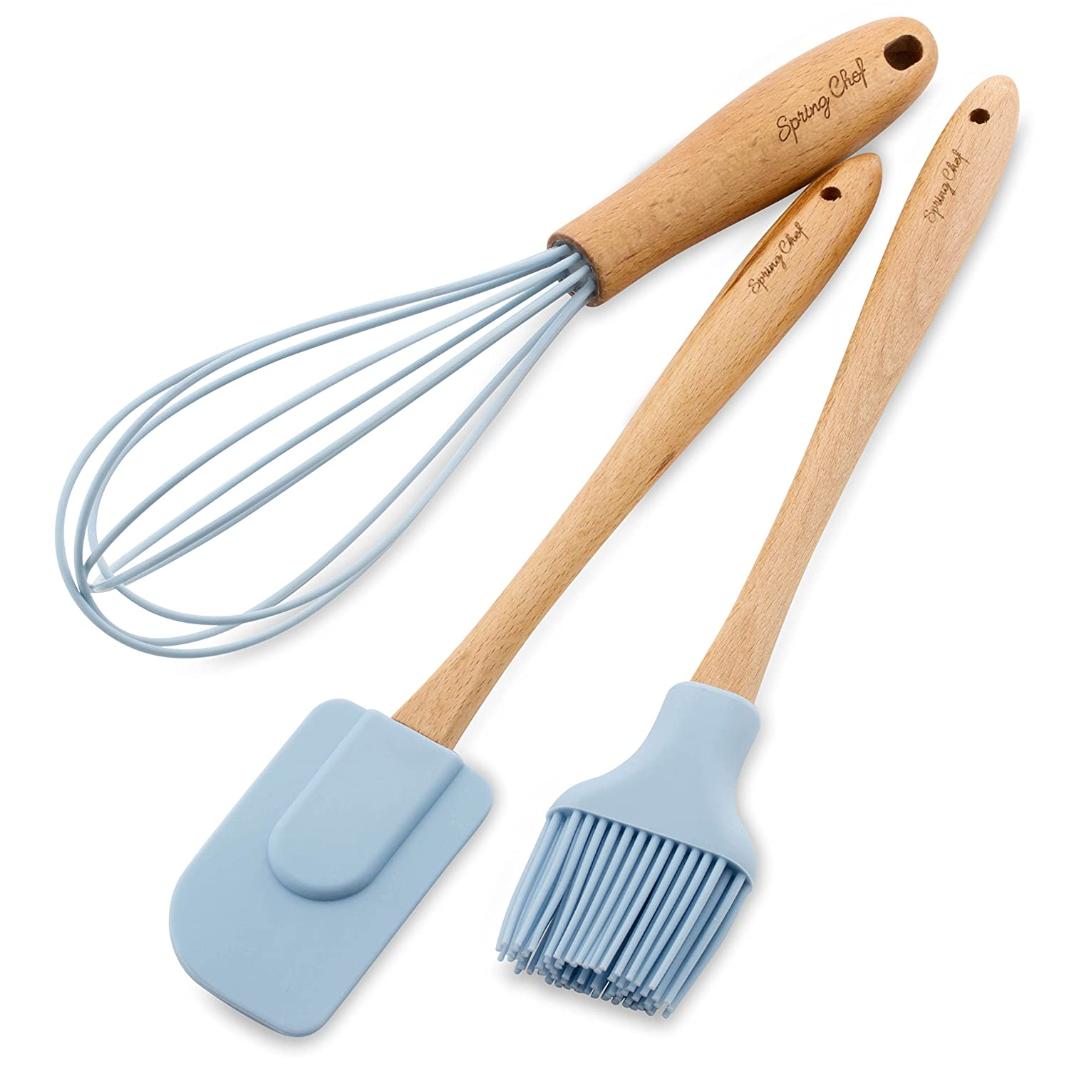Spring Chef Spatula, Pastry Brush & Whisk, Silicone Set with Beechwood Handle, Blue COMINHKPR143190