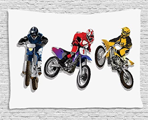 Lunarable Dirt Bike Tapestry, Competitive Outdoor Sports Theme Off Road Racers on Colorful Racing Bikes Image, Wide Wall Hanging for Bedroom Living Room Dorm, 80 X 60 , Multicolor