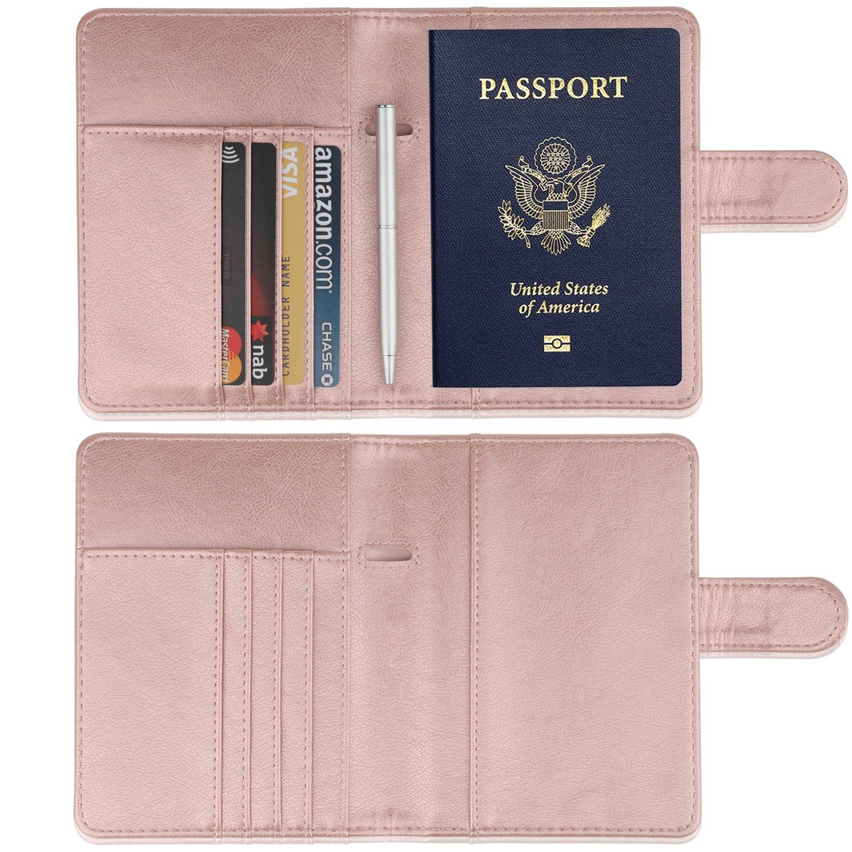 GDTK Leather Passport Holder Cover Case RFID Blocking Travel Wallet (Rose Gold) by GDTK (Image #3)