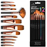 Professional Artist Paint Brush Set of 12 - Painting Brushes Kit for Kids, Adults Fabulous for Canvas, Watercolor & Fabric -