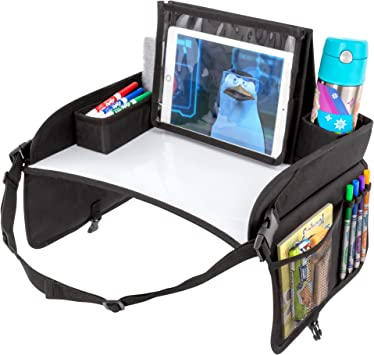 No-Drop Tablet iPad Holder Stand /& Art Supplies Storage Pockets LUSSO GEAR Kids Travel Tray Inspire Active Toddlers /& Big Kids for Years w//Dry Erase Board /& Eating Snack Tray
