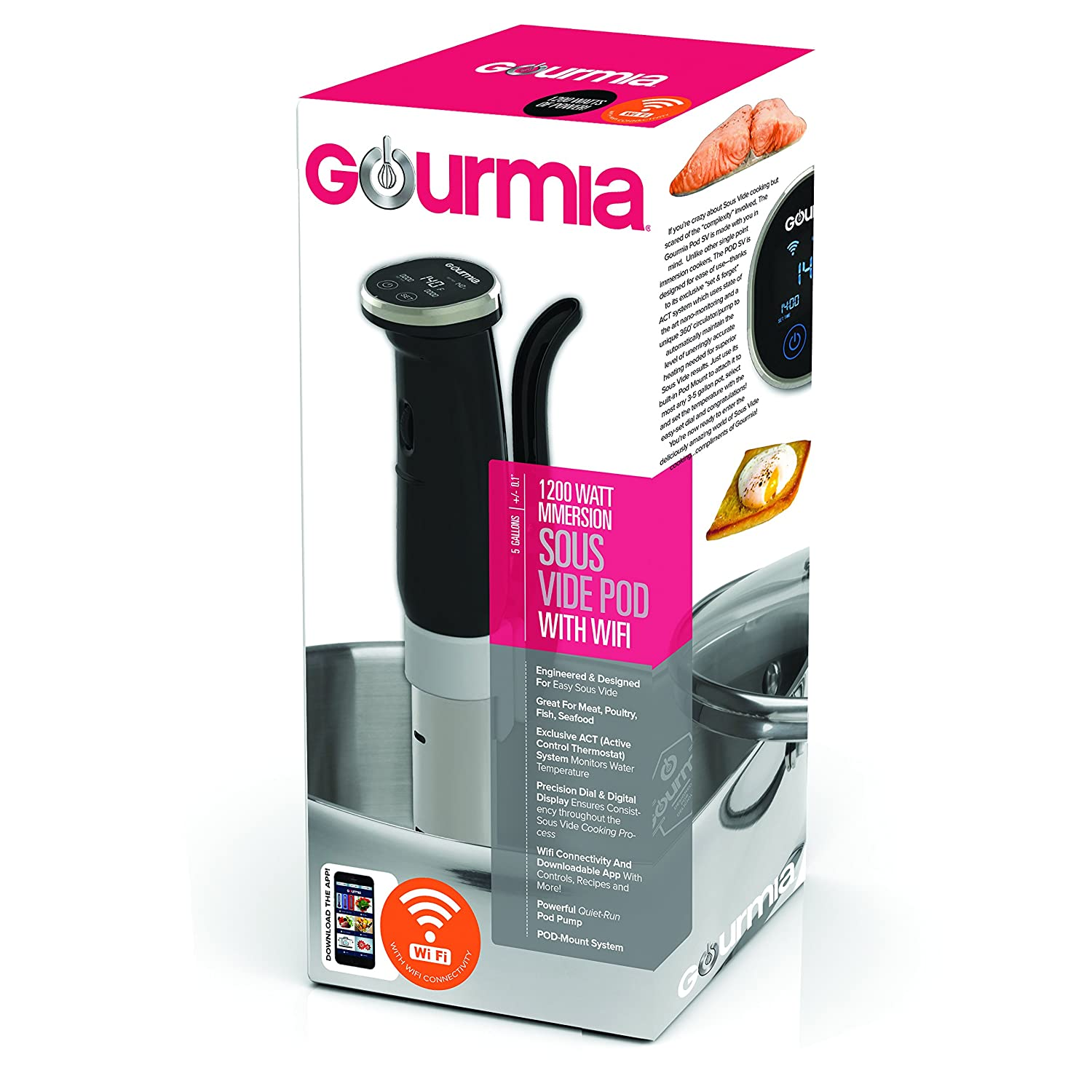 ETL Listed Free Recipe Book Black Gourmia GSV150 WiFi Sous Vide Cooker Immersion Pod Powerful /& Accurate 3rd Generation App Controlled -1200W