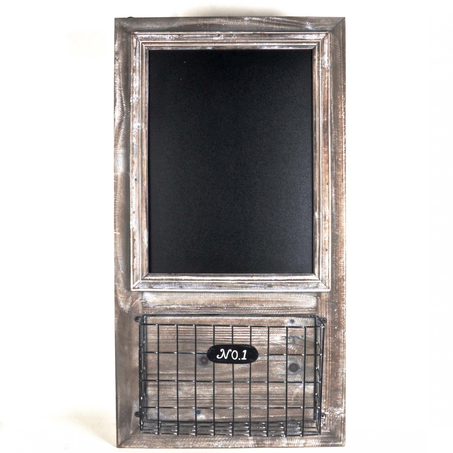 Vintage Style Wall Mounted Blackboard Shelf with Letter Rack -- Washed Grey