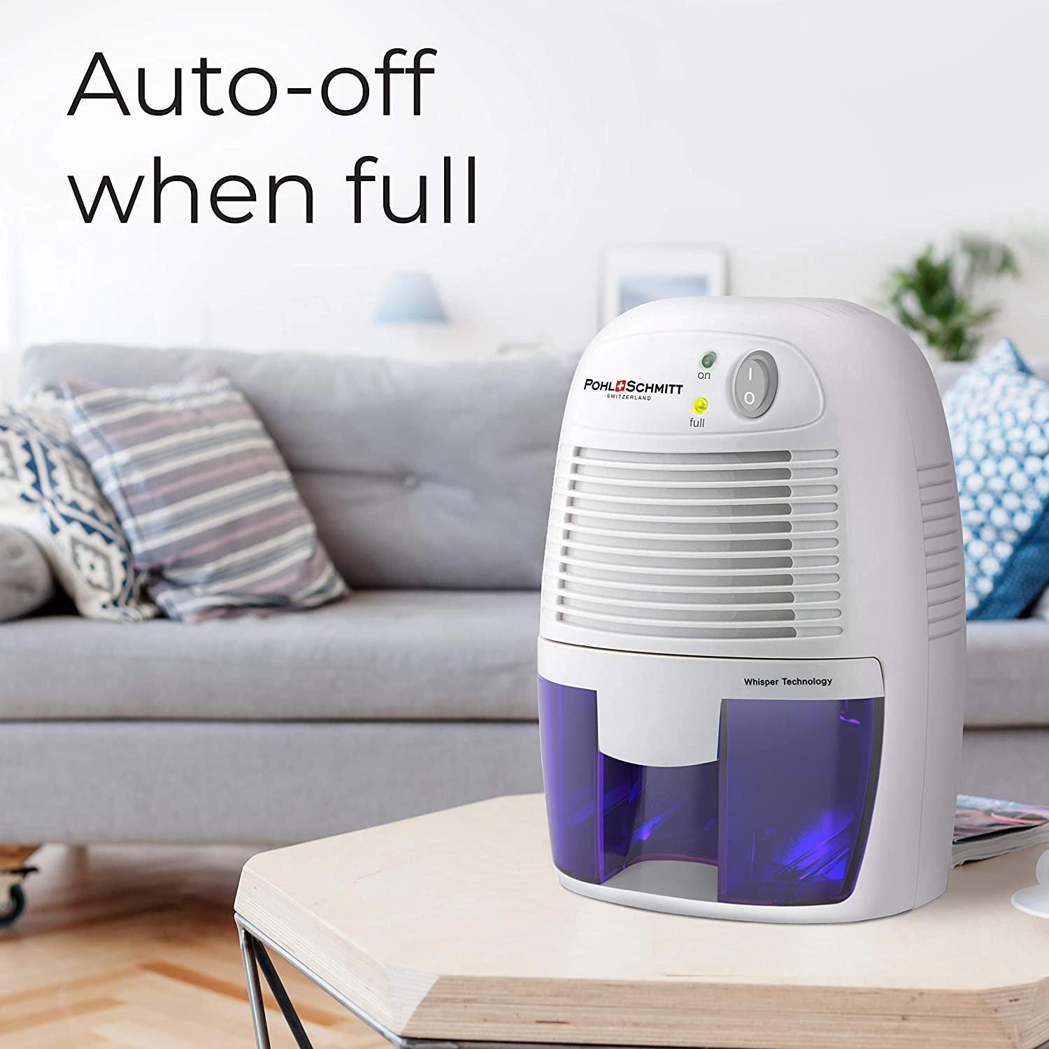 Removes Air Moisture to Prevent Dust Mites Mold /& Mildew Small Portable Design for Homes Bathrooms and Bedrooms Ultra Quiet Basements Pohl Schmitt Mini Dehumidifier 17oz Water Tank