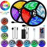 UTTORA LED Strip Lights, 10M 300LEDs RGB SMD 5050 Color Changing with 44-Keys Remote Control, IP65 Waterproof 12V Power Decoration for Kitchen Wedding Party Garden House [Energy Class A+++]