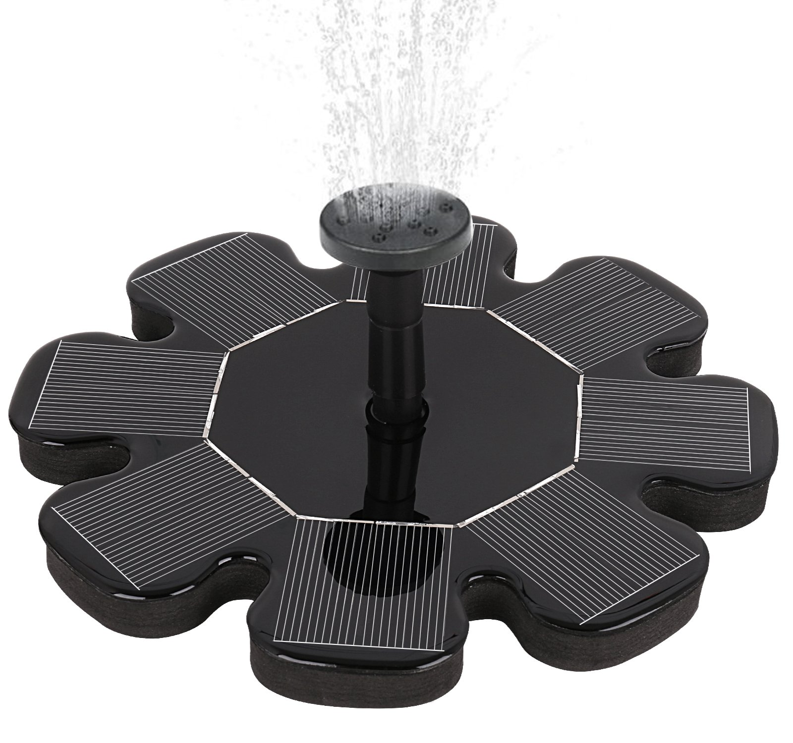 Solar Fountain Pump, Outdoor Solar Powered Bird Bath Water Fountain Pump Solar Sprinkler Fountain for Pool Garden Aquarium