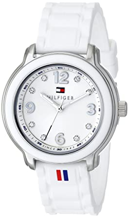 ae247723 Image Unavailable. Image not available for. Color: Tommy Hilfiger Women's  1781418 Crystal-Accented Stainless Steel Watch