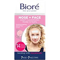 Biore Nose+Face, Deep Cleansing Pore Strips, 7 Nose + 7 Chin or Forehead, with Instant Blackhead Removal and Pore…
