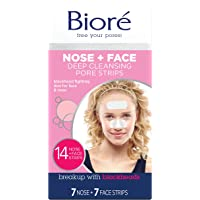 Biore Bioré Nose+Face, Deep Cleansing Pore Strips, 14 Count, 7 Nose + 7 Chin or Forehead, with Instant Blackhead Removal…