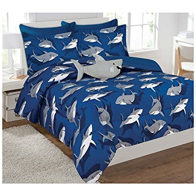 Fancy Collection Kids' Shark Full-Size Bed-in-a-bag Comforter Set of 8, Blue/Grey: Home & Kitchen