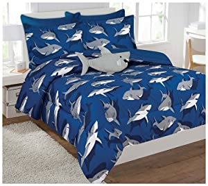 Fancy Collection 6 Pc Kids/teens Shark Blue Grey Design Luxury Comforter Furry Buddy Included