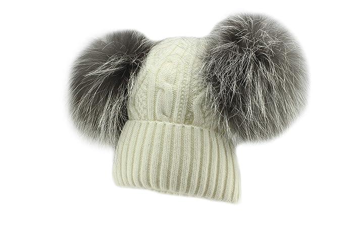 Amazon.com  Jamiks Karina Warm Winter Double Natural Fur Pom Pom ... 6ccda804fc93