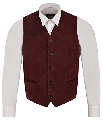 Range Leather En Smart CoLtdGeilt Suede Cuir Cherry Gilet EYeH29IWD