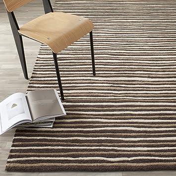 Amazon Com Safavieh Martha Stewart Collection Msr3619b Handmade Hand Drawn Stripe Wool Viscose Area Rug 9 X 12 Tilled Soil Brown Furniture Decor