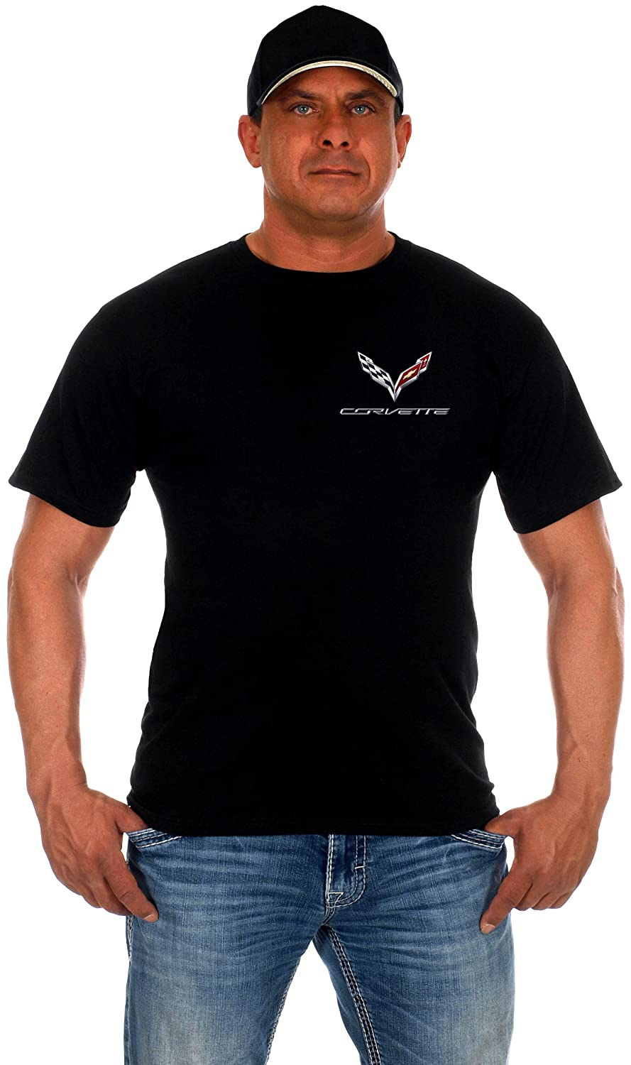 JH DESIGN GROUP Mens Chevy Corvette C7 T-Shirt 2 Styles with American Flag Sticker COR803C705-BLK