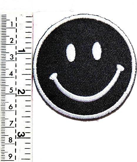 Parche de relajación de cara negra, emoticono, sonrisa feliz ...