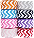 """Hipgirl 40 Yards 7/8"""" Grosgrain Fabric Ribbon Set For Gift Package Wrapping, Hair Bow Clips & Accessories Making, Crafting, Sewing, Wedding Decor, Boy Girl Baby Shower-(8x5yd) 7/8"""" Chevron Ribbon)"""
