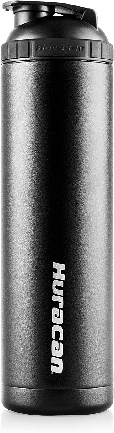 Huracan Shaker Bottle: Protein Blender Bottle, Stainless Steel Water Bottle, Double Wall Vacuum Insulated Smoothie Cup, Wide Mouth Metal Flask, Removable Mixer, Silicone Grip, BPA Free - Black 22 oz