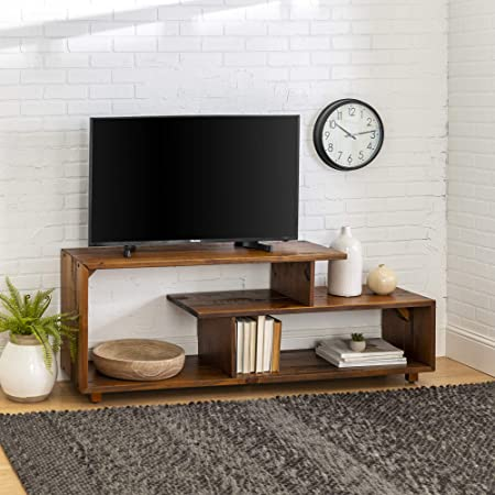 Amazon Com Walker Edison Rustic Asymmetrical Wood Universal Tv Stand For Tv S Up To 65 Flat Screen Cabinet Door And Open Shelves Living Room Storage Entertainment Center Amber Brown60 Inch Table Benches
