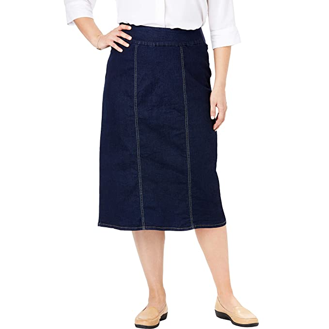 Woman Within Women's Plus Size Smooth Waist A-Line Denim Skirt - Indigo, 16 W best jean skirt