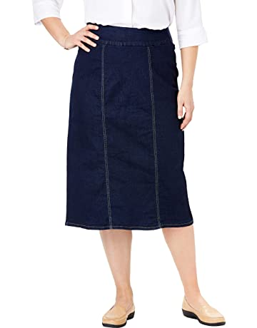 ef73333128 Woman Within Women's Plus Size Smooth Waist A-Line Denim Skirt