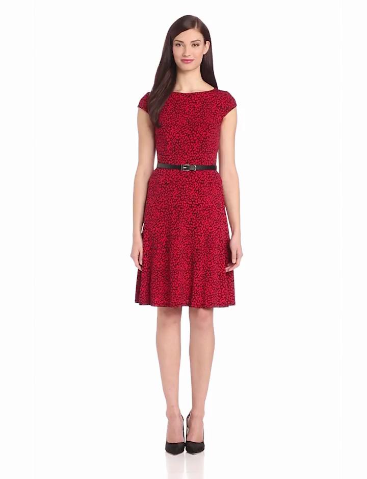 Anne Klein Womens Cap Sleeve Leopard Swing Dress