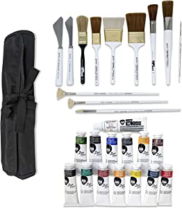 Bob Ross Landscape Oil Paint and Brushes 27-Piece Bundle, 14x Paint Colors (37ml), 12x Brushes and Painting Knives, 1x Velono Roll-Up Case
