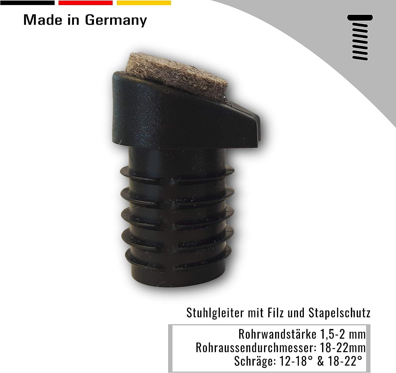 pour pieds ronds inclin/és avec /épaisseur de paroi du tube 1,5-2 mm 4 pieds pour chaise avec protection en feutre et empilable