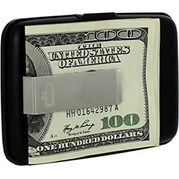 Silver Aluminium credit card holder with money clip Ogon