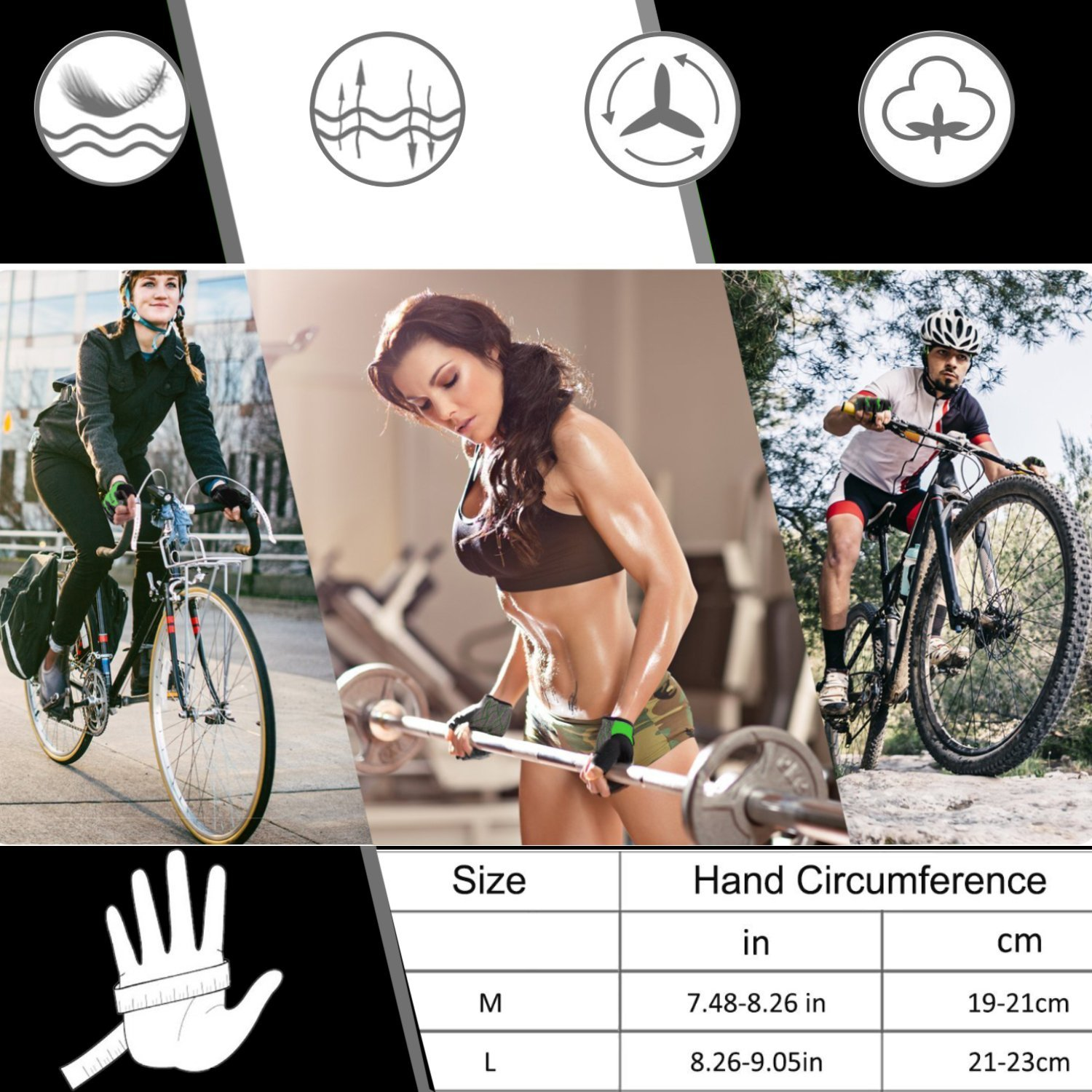 Bike Gloves Fingerless Cycling Gloves for Men DONWELL Anti-slip Breathable Gloves For Bicycle Riding Fitness Outdoor Sports Workout