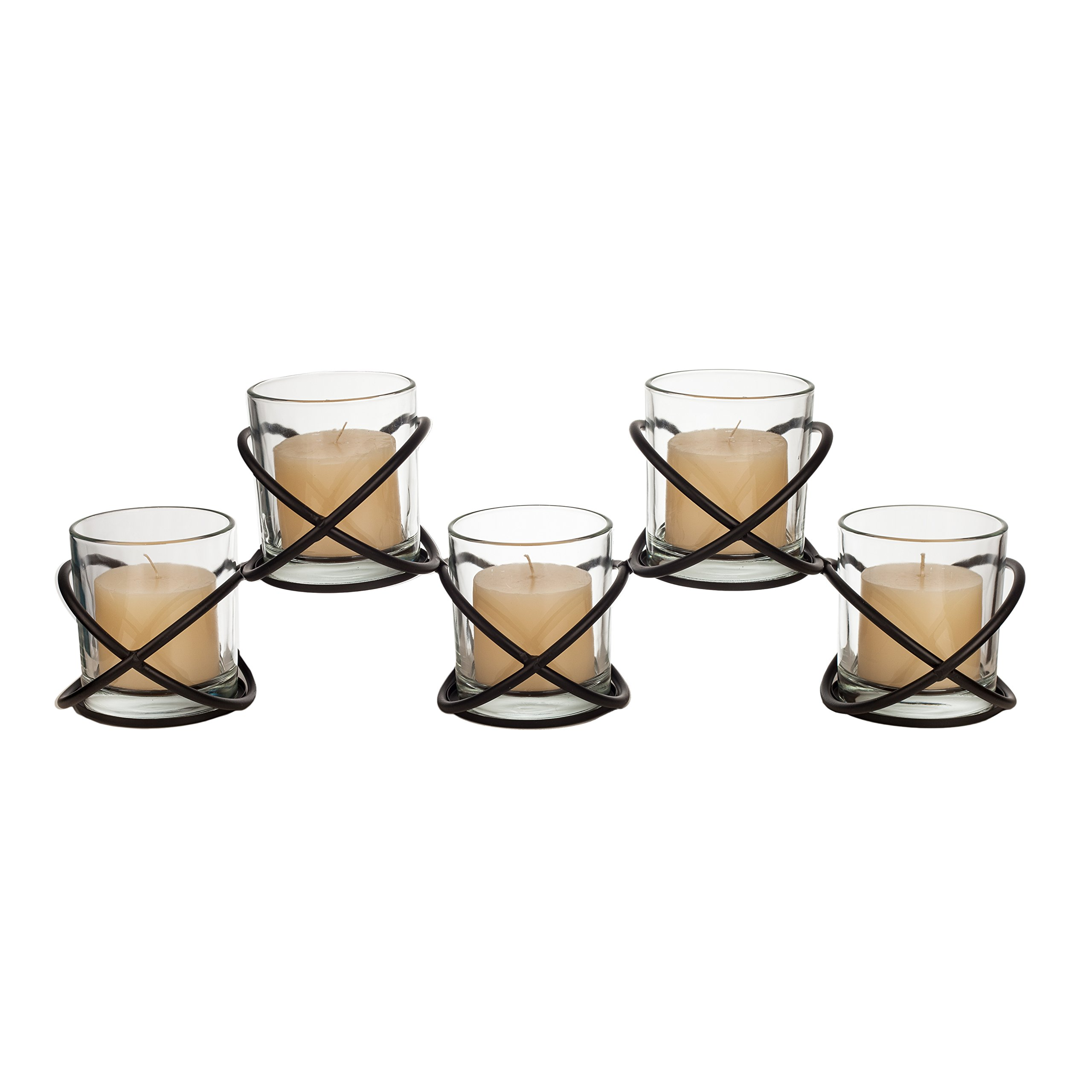 Danya B. KF428 Indoor/Outdoor Decorative Votive Candle Holders – Set of Five Glass Hurricanes on Orbits Metal Stand