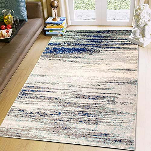 Super Area Rugs Modern Dining Room 8 X 10 Area Rug Abstract Stripes Carpet Grey Blue